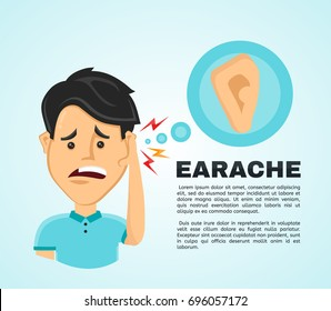 Vector illustration flat man with a earache. Frustrated young man touching his ear and feel aching. Pain in the human body, ear ache, otitis concept.
