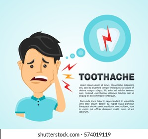 Vector illustration flat man with a oral toothache.  Frustrated young man touching his cheek and feel aching bad tooth. Pain in the human body. Concept for dentist, diseases, tooth day