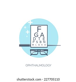 Vector illustration. Flat medical background. Medicine. Ophthalmology. Healthcare and medical research. First aid help.