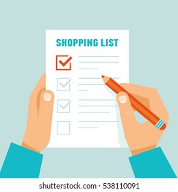 Vector illustration in flat modern style  - hands holding paper sheet with shopping list