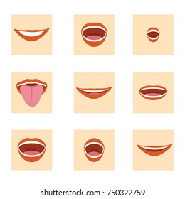 Vector illustration flat mouth icon set. Cartoon mouth expressions element design