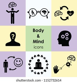 vector illustration of flat nine icons for body and mind connection visuals