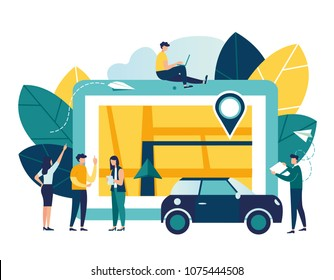 vector illustration flat on white background, search index on navigation, online map on the tablet, get directions, GPS on the city map, mobile application, online car rental