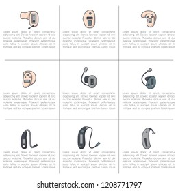 Vector illustration with flat oultine hearing aids icons. Background for hearing aid center, medical clinic for deaf people, hearing loss booklet. Vector line style set. Ears health. Audiology device