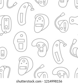 Vector illustration with flat oultine hearing aids seamless background for hearing aid center, medical clinic for deaf people with hearing loss. Vector set in line style. Ears health. Audiology device