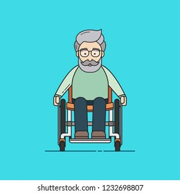 Vector Illustration in Flat Outline Style of an Old Man on a Wheelchair