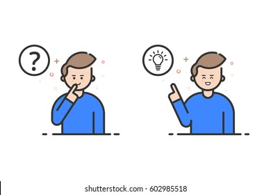 Vector illustration in flat outline style and blue color. Problem solving concept. Man thinking - with question mark and light bulb icons - creative idea. Use in Web Project and Applications - stock.