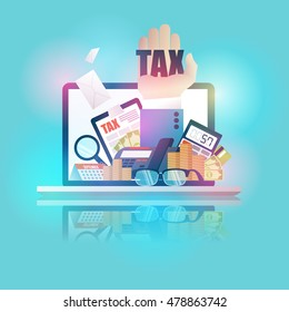 vector illustration flat. payment of state taxes.