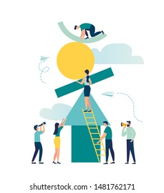 vector illustration flat people. a group of people collect abstract geometric elements forming a pyramid. creative metaphor financial pyramid or marketing pyramid