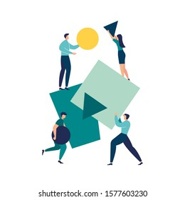 vector illustration flat people. A team of people assemble an abstract geometric puzzle. characters collect geometric shapes