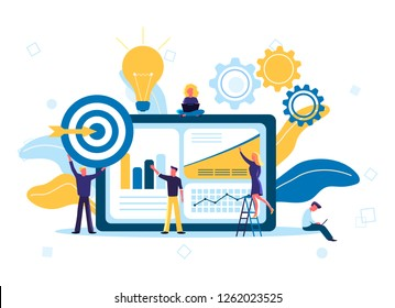 Vector illustration of flat people are thinking over an idea, prepare a business project start up. Business data analysis and teamwork concept. Best web analytics, effective keyword targeting tools