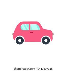 Vector illustration of flat pink cartoon car. Car icon.
