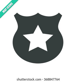 Vector illustration flat police sign icon. Could be used as menu button, user interface element template, badge, sign, symbol, company logo
