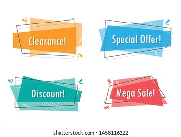 Vector illustration flat promotion ribbon banner, scroll, price tag, sticker, badge, poster, advertising.