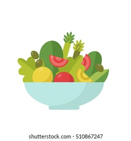 Vector illustration of a flat salad.Dinner flat cartoon design. Food icon.