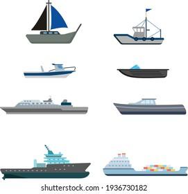 Vector illustration Flat ship set icon isolated on white background