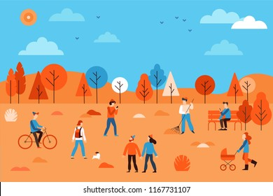 Vector illustration in flat simple linear style -  people walking in the public autumn park - characters enjoying fall - man with mobile phone on the bench, guy riding bicycle, couple holding hands