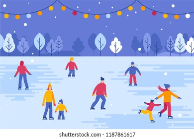 Vector illustration in flat simple style -  Christmas greeting card, banner, poster with people walking and skating outdoors in winter park - happy winter festive season - urban landscape with trees