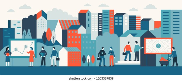 Vector illustration in flat simple style with small characters  -  bitcoin and business concept - abstract urban landscape with advertising and buildings - virtual currency, digital banking
