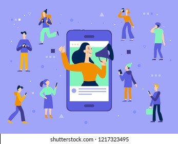 Vector illustration in flat simple style with characters - influencer marketing concept - blogger promotion services and goods for her followers online