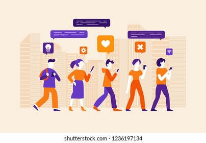 Vector illustration in flat simple style with characters - social media and smartphone addiction concept - people chatting, commenting and consuming online content using mobile phones
