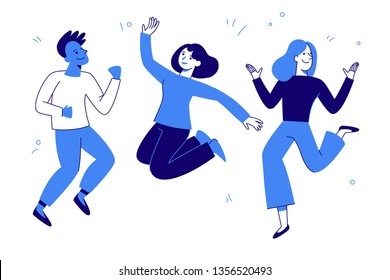 Vector illustration in flat simple style - happy jumping team - smiling men and women - victory, teamwork and cooperation concept - happy and joyful people