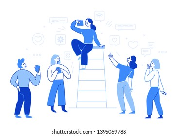 Vector illustration in flat simple style with characters - influencer marketing concept - bloggers using mobile phones and social media to promote services and goods for followers online - testimonial