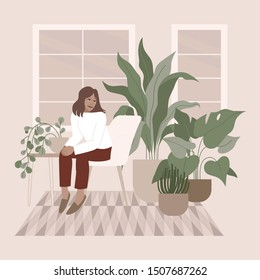 Vector illustration in flat simple style with female character - crazy plant lady, modern poster or print. Stylish girl in scandinavian interior, gardener taking care of home garden and plants, modern