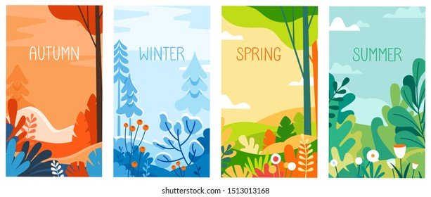 Vector illustration in flat simple style - seasonal vertical banners for social media stories wallpaper - autumn, winter, spring and summer landscapes with copy space for text