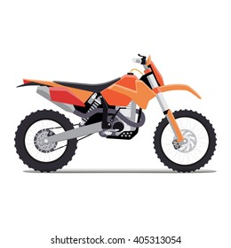 vector illustration of a flat sports enduro bike for extreme trips through the mountains. tech design on a white background.