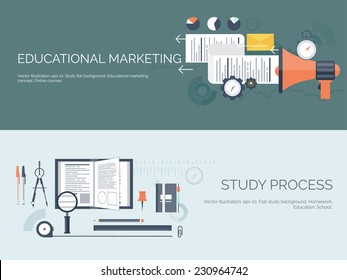 Vector illustration. Flat study backgrounds set. Education and online courses, web tutorials, e-learning. Study and creative process. Power of knowledge. Video tutorials. - Shutterstock ID 230964742