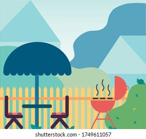 Vector illustration in flat style backyard with awning and chairs and  B-B-Q BBQ