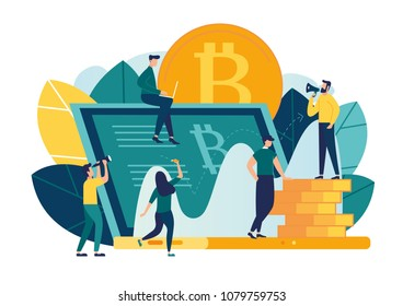 Vector illustration, flat style, business strategy concept, data and investment analysis, financial overview on laptop and infographics, credit currency, success, digital currency creation
