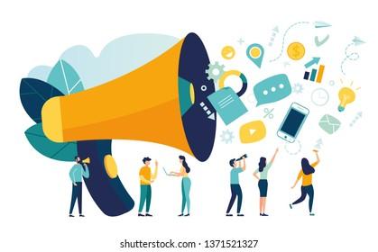 Vektorgrafik, flacher Stil, Geschäftswerbung, Werbung, über das Horn telefonieren, Online-Alarmierung - Vektorgrafik
