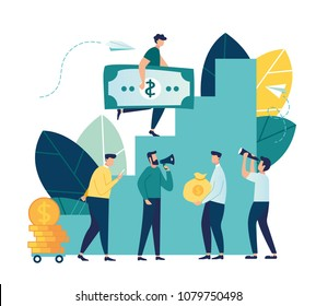 Vector illustration, flat style, businessman running down the stairs and holding money, planning career, concept of career growth, teamwork