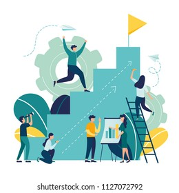 Vector illustration, flat style, businessman running down the stairs to the goal in the form of a flag, career planning, career development concept, team work