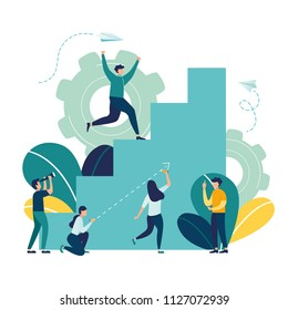 Vector illustration, flat style, businessman running up the stairs to the goal, career planning, career development concept, team work