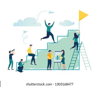 Vector illustration, flat style, businessman running up the stairs to the goal, career planning, career development concept, team work - Vector