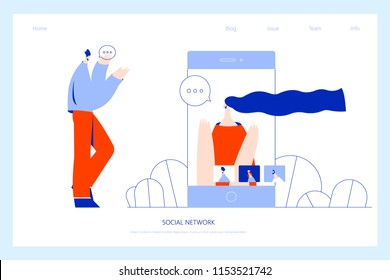 Vector illustration, flat style, businessmen discuss social network, news, social networks, chat, dialogue. Use in Web Project and Applications.