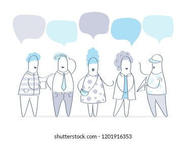 Vector illustration, flat style, businessmen discuss social network, group of people, news, social networks, meeting, chat, dialogue speech bubbles. Flat line vector illustration