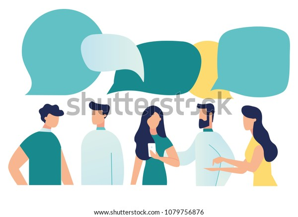 Vector illustration, flat style, businessmen discuss social network, news, social networks, chat, dialogue speech bubbles