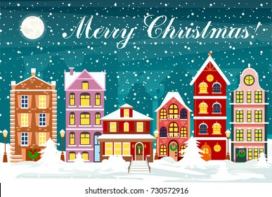 Vector illustration in flat style cityscape with colorful houses with snow in night time with sky and moon. The city in christmas.