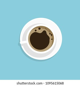 Vector Illustration, Flat style of a cup of coffee black