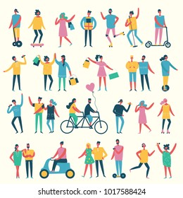 Vector illustration in a flat style of different activities people - shopping, dancing, singing, playing music instruments, riding bicycle and others