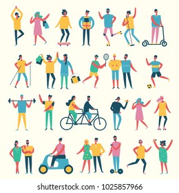 Vector illustration in a flat style of different activities people - shopping, dancing, singing, riding bicycle and others