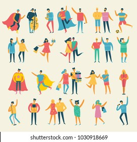 Vector illustration in a flat style of different activities people