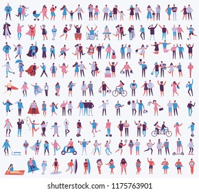 Vector illustration in a flat style of different activities people in all seasons- autumn, winter, summer and spring