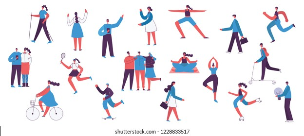 Vector illustration in a flat style of different activities people characters