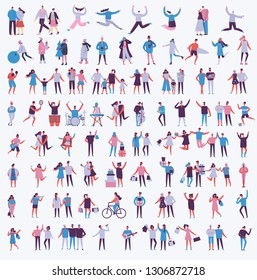 Vector illustration in a flat style of different activities people jumping, dancing, walking, couple in love, doing sport in flat style