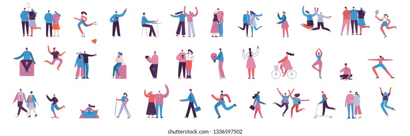 Vector illustration in a flat style of different activities people jumping, dancing, walking, business, couple in love, doing sport, have party.